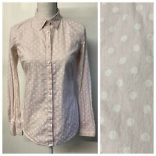 Ann Taylor Baby Pink & White Polka Dot Button Up Shirt Career Work Womens Size 4