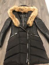 Nb Series Nicole benisti Black Down Puffer Coat Fur Trim Leather Sleeves Small