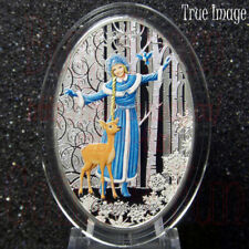 2021 Snow Maiden Снегурочка $5 Fine Silver Matryoshka Oval Coin Solomon Islands