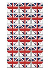 Union Jack Flag Heart Shape Rice Paper Cake Toppers x18 UK GREAT BRITAIN