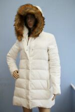 Armani Jeans Winter White Feather Padded Zip Jacket Coat with Fur Hood Size S