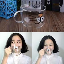 8051 Cat Kitty Borosilicate Glass Coffee Milk Cup Transparent Water Mug 550ML