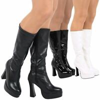Memphis Womens Mid Calf Knee High Block Heels Platforms Gogo Boots Ladies Shoes