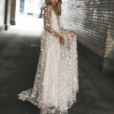 Womens Long Sleeve Layered Tulle Gown Cocktail Evening Ball Prom Summer Dress