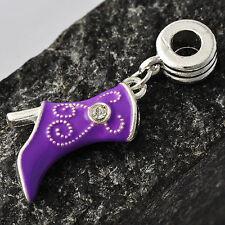 Skillful Silver Plated Womens Purple Enamel Shoes crystal DIY fit Bracelet