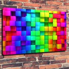 """Rainbow CUBI Wall Art Scatola stampata foto su tela A1.30""""x20"""" - 30 mm telaio in profondità"""