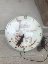Vintage Glass Dome Jacko Chocolate Drink Wolseley Dairy Advertising Clock
