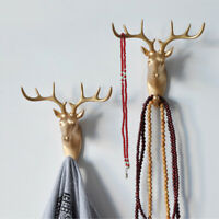 Animal Deer Stags Head Hooks Clothes Hat Key Wall Hanger Rack Home Bedroom Decor