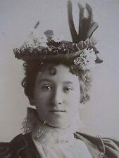 Antique Cabinet Photo-Fancy Lady,Large Hat,Flowers,Fashion,Lace,Pin