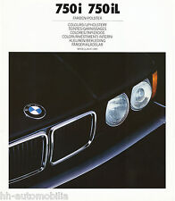 BMW 750i 750iL Farben Polster Prospekt 1988 2/88 D E32 big size brochure