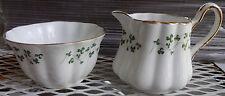 Royal Tara Ireland Bone China Shamrock Gold Trim Mini Sugar Bowl & Creamer Set