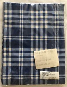 Company Store Bedding *Twin* Hudson Flat Sheet Plaid Blue 100% Cotton New
