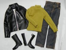 Ken Faux Leather Jacket Sweater Jeans & Boots Fashion ONLY Unboxed Free U.S Ship