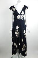Free People She's A Waterfall Maxi Dress High/Low Floral Black V-Neck Size 4 New