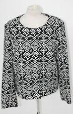SEE U SOON Ladies Long Sleeve Black Top White Blazer Front Zip U Neckline Size 3
