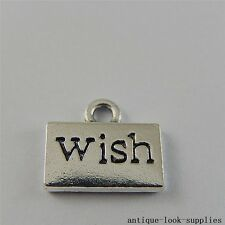 Vintage Silver Alloy Engraved  Word Letter Wish Charms Crafts Findings 20pcs