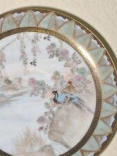 Antique Hair Painted Birds Kutani Plate Japan HP River Village Scene Signed