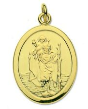 St. Christopher Pendant 9ct Gold, Oval Saint Christopher Yellow Gold Traveller