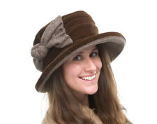 BRAND NEW LADIES CASUAL BROWN VELVET HAT WITH BOW RHONA