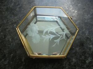 Vintage 6 SIDED Glass and Brass  Curio Collectable Mirrored Trinket Display Case
