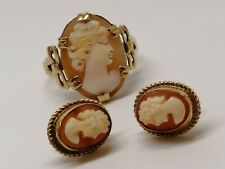 9ct Gold Cameo Ring Size L 1/2 and earrings rare genuine Wonderful Design