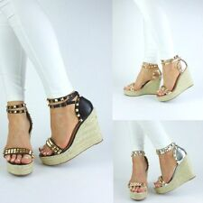 NEW WOMENS STUD ESPADRILLE WEDGE SUMMER SANDALS METALLIC STUD WEDGE ROSE GOLD SI