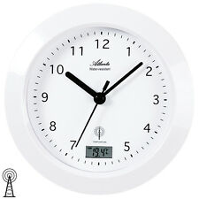 NEU AMS Wanduhr Funkuhr Funk digital Datum Thermometer wasserdicht Baduhr weiß