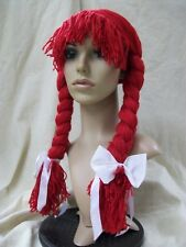 Fun Red Yarn Rag Doll Girl Wig Braided Pigtails w/ Bows Raggedy Ann Jessie Wendy