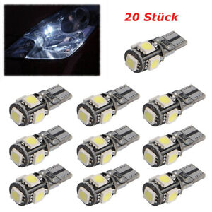 20 Stück LED 5-SMD T10 Auto Innenraum Glassockel Standlicht Beleuchtung Lampe