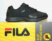 Mens Fila Memory LAYERS Slip Resistant WATER RESISTANT Work Shoes Black