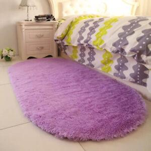 Floor Mat Oval Soft Area Rugs Plush Carpet Fluffy Shaggy Bedside Home Decor
