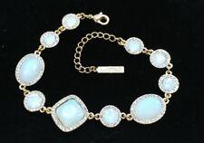 Senso Di Donna Signed Opalescence Faceted Glass Rhinestone Gold Tone Bracelet