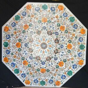 Semi Precious Stones Inlaid Dining Table Top White Marble Hall Table 48 Inches