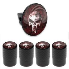 Tow Hitch Cover Insert Plug for Truck & SUV + VALVE CAPS - PUNISHER SKULL FLAME
