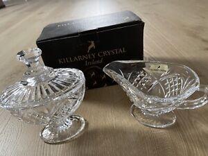 BNIB KILLARNEY CRYSTAL Milk And Sugar Set Creamer Sugar Bowl With Lid