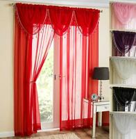 SAPPHIRE 5 PIECE BEADED SWAG & VOILE CURTAIN PANEL SET ~ Many Colours & Sizes