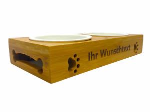 Doppel Futterstation mit Gravur Namen personalisiert Bambus, Keramikschalen Wass
