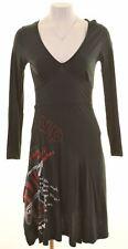 DESIGUAL Womens A-Line Dress Size 10 Small Black Cotton  HG05