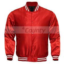 Varsity Baseball Letterman College Bomber Jacket Supreme Quality Red Satin