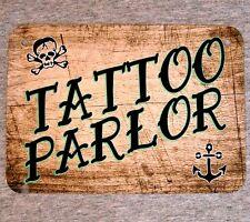 Metal Sign - TATTOO PARLOR - ink shop flash artist tats skull anchor sailor