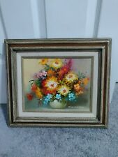 FRAMED SIGNED ROBERT COX OIL ON CANVAS BRIGHT COLOR FLOWERS STILL LIFE