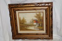 Robert Moore Signed Oil Painting on Board Framed - House Mill Lake