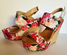 New Jessica Simpson Pink Anika Platform Wedge Open Sandals Floral Print 9.5