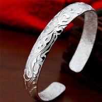 Fashion Female Jewelry 999 Sterling Silver Bangles Cuff Bracelet High Quality EP