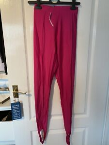 High Waisted Pink Leggings 80 Retro With Stirrup Size 6