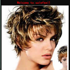 Women's Short Wigs Blonde Synthetic full Wig Highlight Beauty Hair Natural Look