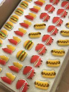 24 Edible Summer BBQ Cupcake Toppers Party Dad Birthday Hotdog Hamburger