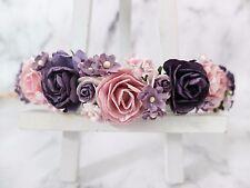 Flower crown - dark purple light mauve head wreath - wedding hair accessories