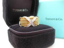 TIFFANY & CO. JEAN SCHLUMBERGER 6 ROW X ROPE DIAMOND 18K GOLD RING BAND SIZE 4