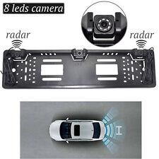 EU Car License Rearview Camera Plate Frame Two Reversing Radar Parking Sensors